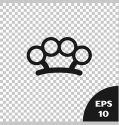 Black brass knuckles icon isolated on transparent vector