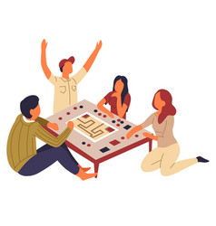 Board game family playing at table isolated vector