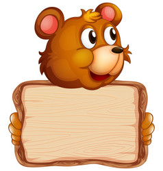 Board template with cute bear on white background vector