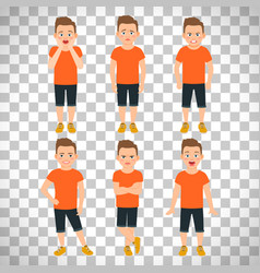 Boys different emotions on transparent background vector