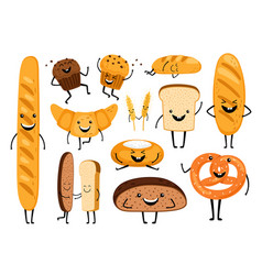 bread characters funny tasty bakery pastries vector image