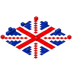 British flag made of cubes vector