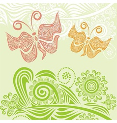 Butterflies and nature pattern backgroun vector