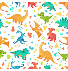 Cartoon dino seamless pattern cute triceratops vector