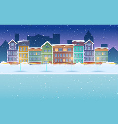 Cartoon night winter city snowy background vector