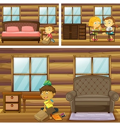 Children doing things in different rooms vector image
