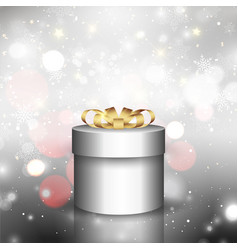 christmas gift background with bokeh lights vector image
