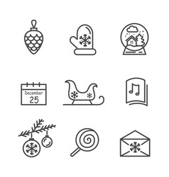 Christmas icons colorless vector