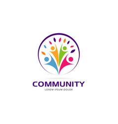 circle colorful community logo symbol vector image