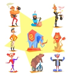 Circus collection with carnival fun fair vector image