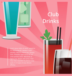 Club drinks poster bloody mary cocktail whiskey vector