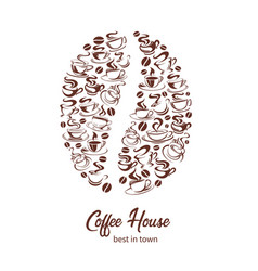 Coffeehouse poster of coffee cups and bean vector