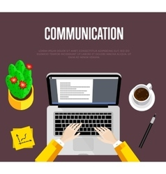 Communication concept Top view office workspace vector image