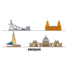 Cote divoire abidjan flat landmarks vector