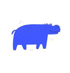 cute blue hippo hand drawn vector image
