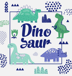 Cute dinosaurs design childish background vector