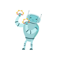 cute robot musician playing tambourines musical vector image