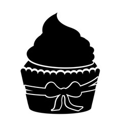 Delicious cupcake with bow isolated icon vector