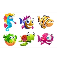 Different sea creatures vector
