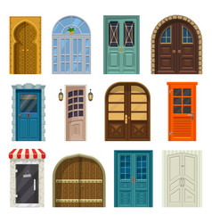 doors house entrances and cartoon gates fronts vector image