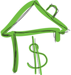 drawn colored green house with dollar sign vector image