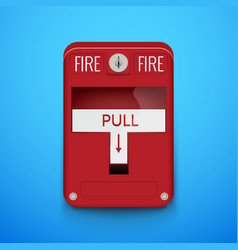 fire alarm system pull danger fire safety box vector image