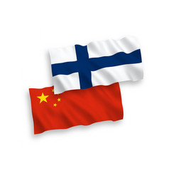 flags finland and china on a white background vector image