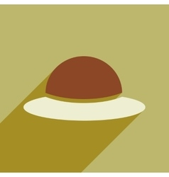 Flat icon with long shadow women s hat vector