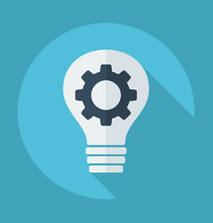 Flat modern design with shadow bulb and gear is vector
