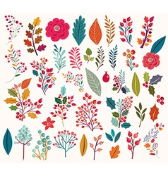 Floral elements and leaves vector