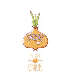 Funny cartoon cute tiny onion character vector