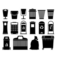 Garbage cans black silhouettes vector