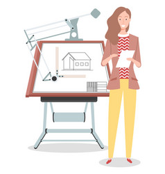 Girl architect working on project drawing new vector