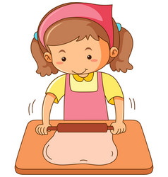 Girl rolling flour dough on wooden board vector
