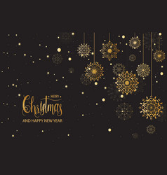 golden snowflake merry christmas decoration vector image