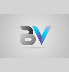 Grey blue alphabet letter bv b v logo icon design vector