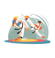 Guys karate sparring for training vector