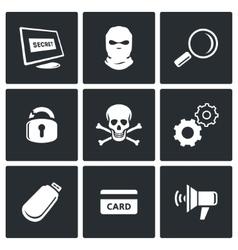 Hacker icons set vector image