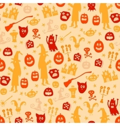 Halloween seamless silhouette doodle pattern vector