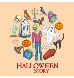 Halloween story emblem with sketch symbols vector image