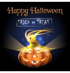 Happy Halloween Poster with Pumpkin vector image