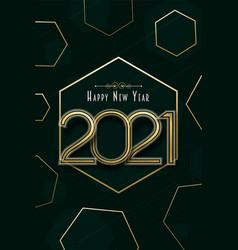 happy new year 2021 geometric shape golden card vector image