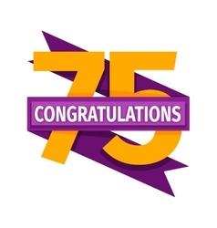 Happy seventy fifth birthday badge icon vector image