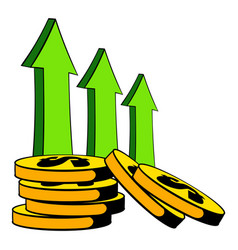 Increase cash income icon cartoon vector