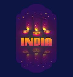 Indian oil lamp diya vector