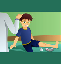 injured kid in doctor office vector image