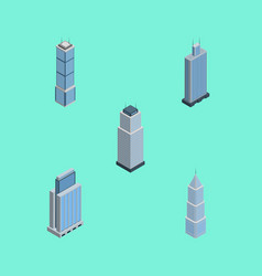 Isometric building set of tower exterior urban vector