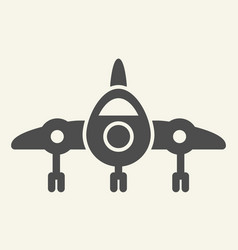 Jet fighter front view solid icon airplane vector