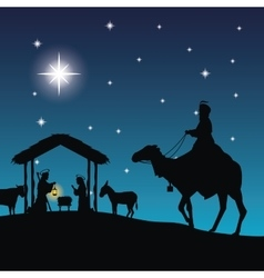 Joseph maria and jesus icon Merry Christmas vector image
