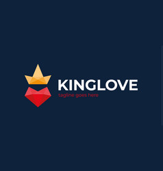 King love logo poly heart love and crown vector